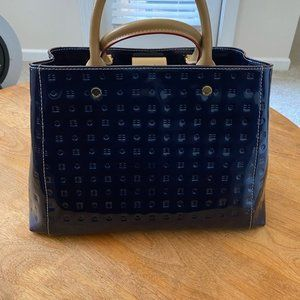 Arcadia Gina Top Handle w Dust Bag Blue Patent